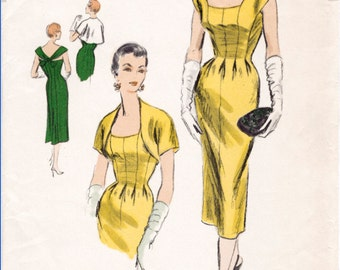 1950s 50s Vintage Sewing Pattern evening cocktail wiggle dress low neckline cross back & bolero jacket size small bust 32 b32 reproduction