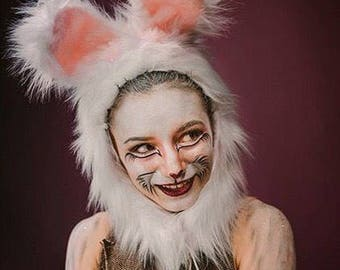 White Rabbit Costume, Bunny Hood, Faux Fur Ears, Fluffy Animal Hat