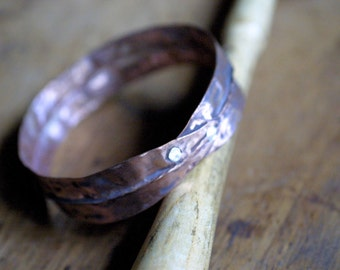 Rustic Boho Textured Copper Bangle Bracelet - Organic - Boho Chic - Tarnished Copper - Bohemian - Fold Formed Copper