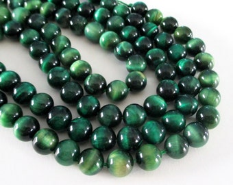 "Green Tiger Eye Round Beads - Grade A Natural Green Tiger's Eye Beads - Smooth Center Drilled - 7.5"" Strand - 8mm - Spring Jewelry Making"