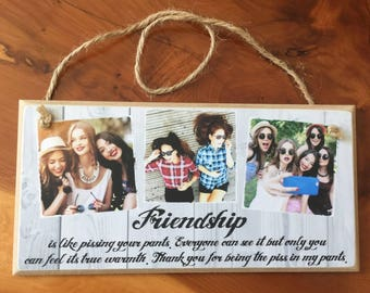 8x4'' Best Friend Gift, Best Friend Birthday Gift, Add Your Own Photo Personalised Photo Frame, Photo Plaque, Handmade Gift