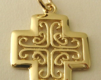 Genuine SOLID 9ct YELLOW GOLD Celtic Keltic Cross Pendant