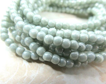 Laurel Mint Green Czech Glass 3mm Smooth Round Druk Jewelry Beads - strand of 50