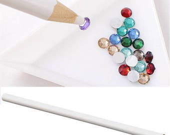 1 pencil collection rhinestone/tools for nail Art white