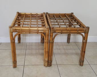 Mid Century Rattan Bamboo END TABLES Nightstand Coffee Table Set of 2 (Shipping not included)