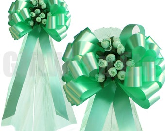 """Mint Wedding Pull Pew Bows with Tulle Tails and Rosebuds Decorations - 8"""" Wide, Set of 6"""