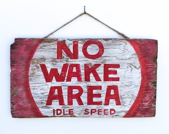 No Wake Area Beach Sign Hand Painted on Reclaimed Wood Beach Decor Lake House Decor Beach Baby Nursery Kids Room Decor Beach Art  Mangoseed