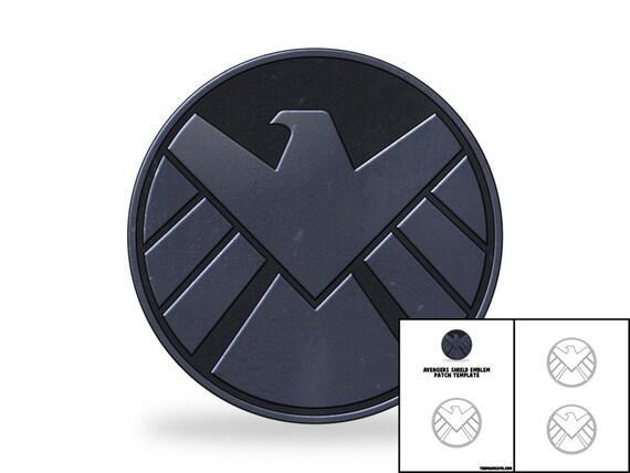 template for avengers shield emblem patch