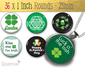 St. Patty's Day Irish Celtic Themes - (1x1) One Inch (25mm) Round Pendant Images - Buy 2 Get 1 Free - Digital Download - Bottle Cap Images