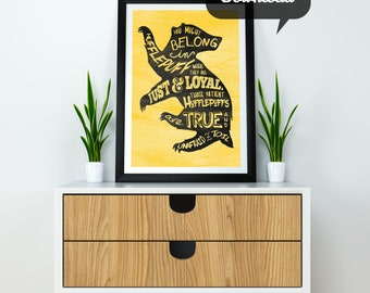 Sorting Hat Hufflepuff Print | Hogwarts House Printable | Badger Silhouette Shape | Just, Loyal, & True | Instant Download in Many Sizes