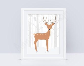 PRINTABLE Deer nursery wall art, Deer nursery art, Woodland nursery wall art, Woodland animals print, Baby art prints,