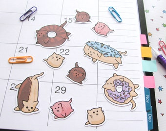Cute Cat Stickers, Donut Stickers, Journaling, Sticker Flakes, Cute Cats, Funny, Humor, Silly, Stationery, Scrapbooking, Cute Food
