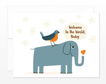 New Baby Elephant & Bird Card - Cute New Baby Greeting Card, New Parents Card, New Mom Card, Welcome To The World, Baby Card