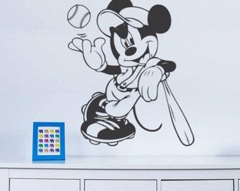 Mickey Mouse BASEBALL  wall art sticker