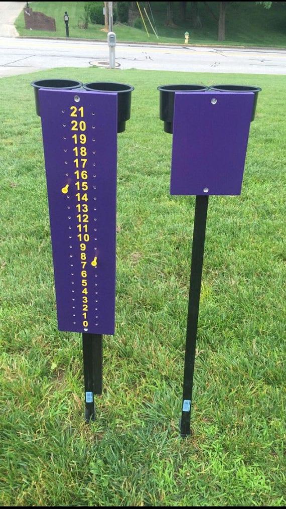 Cornhole scoreboard with beverage holders