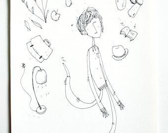 Ink illustration drawing (original)