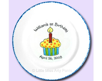 Free Shipping - Personalized Little Cupcake - Hand Painted Signature Birthday Plate - 1st Birthday - Guest Book plate - signature plate
