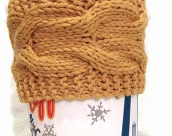 Yellow Cup Cozy, Sleeve Knitted, Gift