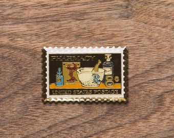 Pharmacist Commemorative Stamp Vintage Pin