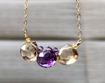 Ametrine Gold Necklace, February Birthstone, Amethyst Necklace, Citrine Necklace, Valentines Day Gift for Wife, Necklace Gift for Mother,