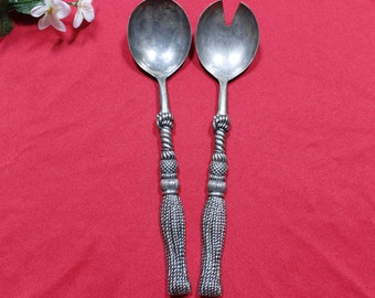 Two Silea silver plate spoon salad serving utensils