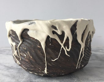 Stoneware chawan tea bowl cup with porcelain drips, wabi sabi drinking vessel pottery