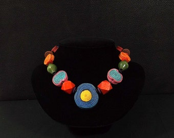 Colorful Wooden Bead and Woven Fiber Necklace