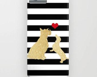 Or paillettes teckel chien et Schnauzer Phone Case - idées cadeaux chien, iPhone 6, iPhone 6 Plus, cadeaux de teckel, iPhone 8, iPhone X