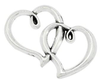Connector silver hearts ENTRELASSES 32x20mm