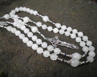 Classic Rosary - White Jade and Amethyst