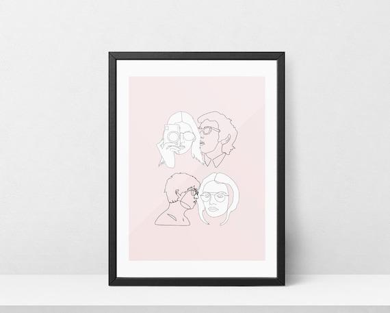 Single Line Art Print : Faces one line drawing print printable wall art