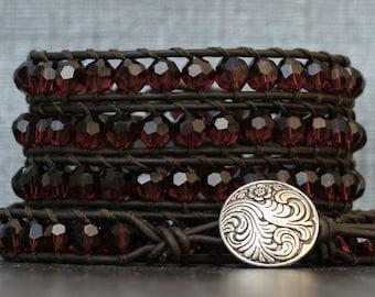 crystal leather wrap bracelet - wine burgundy on black brown leather - beaded ladder bracelet