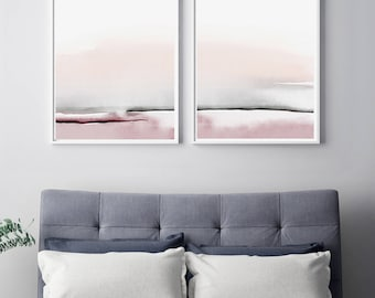 Bedroom Print Set, PRINTABLE Wall Art, Set Of 2 Prints, Abstract Wall Art,  Printable Abstract Art, Blush Pink And Gray Art, Bedroom Wall Art