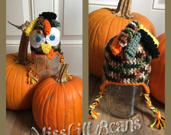 Crochet Turkey Hat, Animal Hat, Thanksgiving Holiday, Fall, Photo Prop Accessories