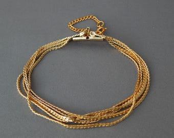 Vintage Gold Tone Multi Chain Bracelet, Wide Multi-Strand Curb Chain Bracelet, Faux Gold Bracelet
