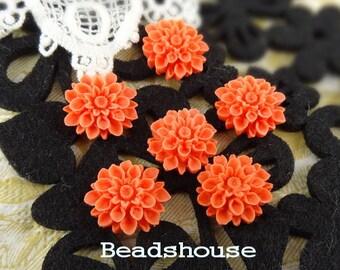 37-00-CA   6Pcs  Natural Shape Chrysanthemum Cabochons - Coral