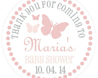 Beautiful Butterfly Baby Shower Stickers. Personalized Baby Shower Tags. Butterfly Baby Shower Favor Tags. Many Colors Available.