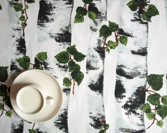 Tablecloth white with birch grove , also napkins , table runner , pillow covers , curtains available, great GIFT