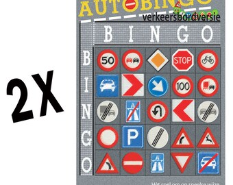 Set 2x Car Bingo-Verkeersbord version