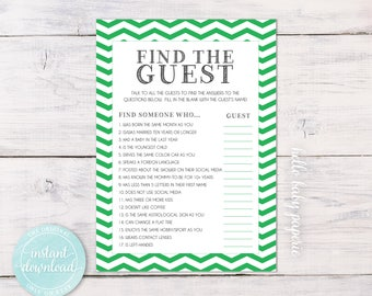 Baby Shower Game - Find the Guest Game Printable - Baby Shower Guest Game - Green Chevron Shower Game - Digital Instant Download - 0020
