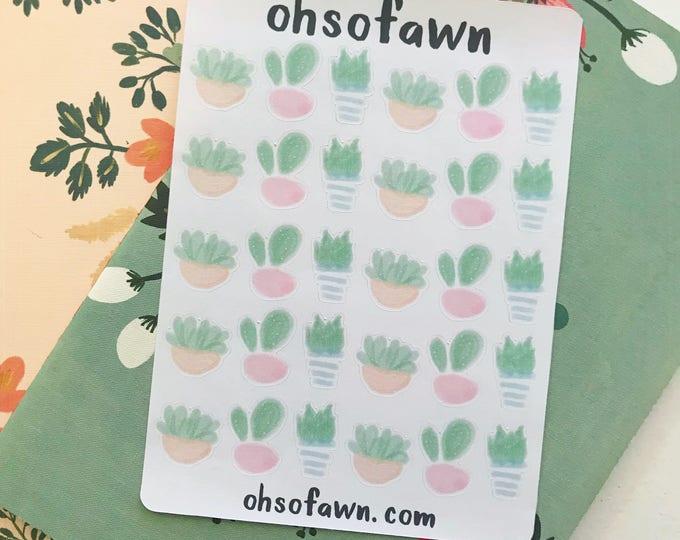 Watercolor Cacti Stickers