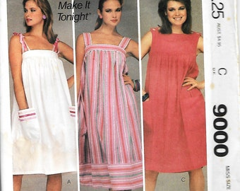 McCall's 9000 Misses Pullover Dress, Sundress Sewing Pattern, Size Medium, Bust 36-38, UNCUT