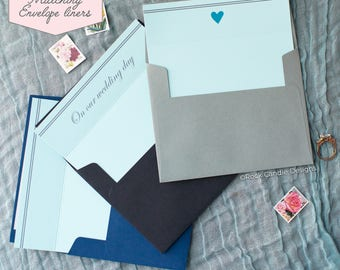 Printed Matching Envelope Liner | A2 Sized Liner | Wedding Card | To My Husband | On Our Wedding Day Card | Card For Fiancé | Card From Wife