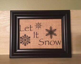 Let It Snow burlap print, Winter burlap print, burlap wall decor, Winter decor, Christmas burlap print, Christmas decor, burlap print