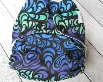 Cloth Diaper - Blue Agate - One Size Pocket Cloth Diaper