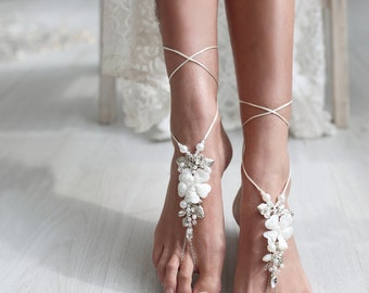 Beach Wedding Barefoot Sandals Bridal Feet Jewelry Boho