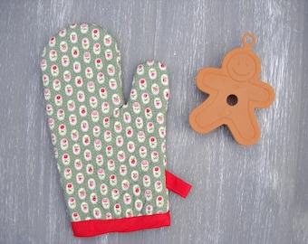 Floral Oven Glove/ Kitchen Mitt / Green, Red & Roses Retro Oven Mittens / Heat Proof Cooking Oven Mitts/ Christmas Oven Mitt/ Baking Glove