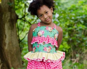Dawn's Darling Fitted Top PDF Pattern Sizes 6/12m to 8 girls