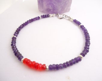 Amethyst Red Opal Bracelet Beaded Bracelet Purple Braclet Stackable Bracelet Ethiopian Opal Bracelet Stackable Bracelet February Birthstone