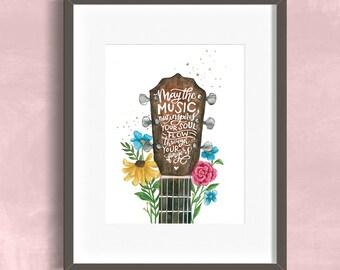 8x10 Art Print Hand Lettering, Guitar, Music